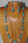 "MBADS #04-962  ""Blue, Clear & Grey Bead Necklace & Earring Set"""