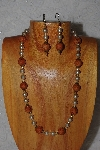 "MBADS #04-952  ""Brown & Champagne Bead Necklace & Earring Set"""