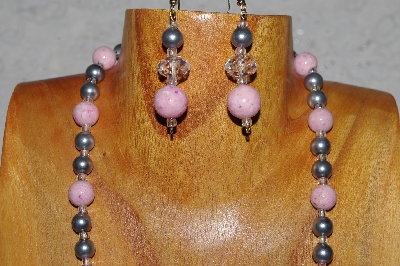 "MBADS #04-948  ""Pink, Clear & Grey Bead Necklace & Earring Set"""