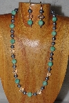 "MBADS #04-937  ""Green, Grey & Clear Bead Necklace & Earring Set"""