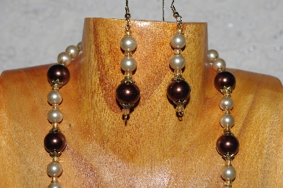 "MBADS #04-932  ""Brown & Champagne Bead Necklace & Earring Set"""