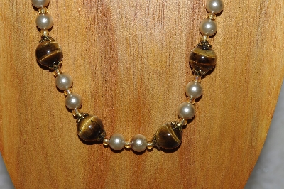 "MBADS #04-926  ""Brown & Champagne Bead Necklace & Earring Set"""