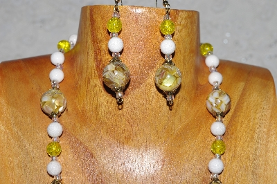 "MBADS #04-917  ""Quartzite & Yellow Bead Necklace & Earring Set"""