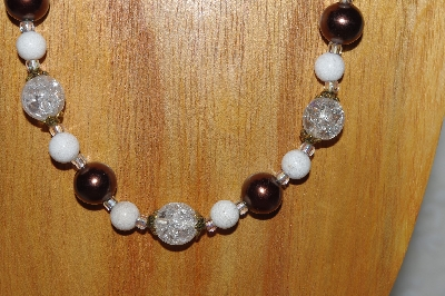 "MBADS #04-912  ""Quartzite, Brown & Clear Bead Necklace & Earring Set"""