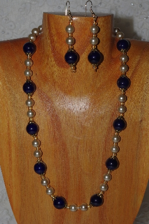 "MBADS #04-972  ""Dark Blue & Champagne Bead Necklace & Earring Set"""
