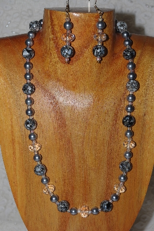 "MBADS #04-977  ""Black, Clear & Grey Beads Necklace & Earring Set"""