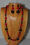 "MBADS #04-1043  ""Red & Black Bead Necklace & Earring Set"""
