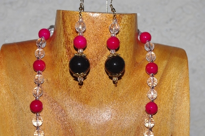 "MBADS #04-1025  ""Dark Rose, Black & Clear Bead Necklace & Earring Set"""