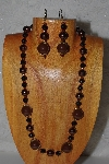 "MBADS #04-1020  ""Brown & Black Bead Necklace & Earring Set"""