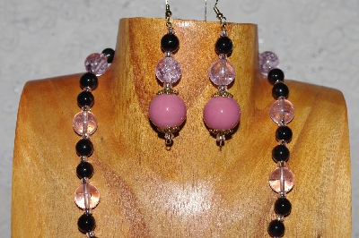 "MBADS #04-1016  ""Pink & Black Bead Necklace & Earring Set"""