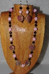 "MBADS #04-1010  ""Pink & Black Bead Necklace & Earring Set"""