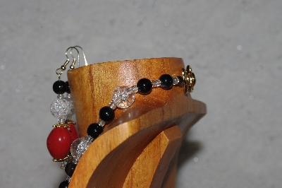 "MBADS #04-1004   ""Clear, Black & Red Bead Necklace & Earring Set"""