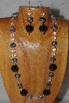 "MBADS #04-999  ""Black & Clear Bead Necklace & Earring Set"""