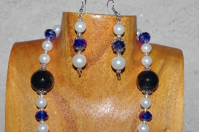 "MBADS #04-994  ""Blue & White Bead Necklace & Earring Set"""