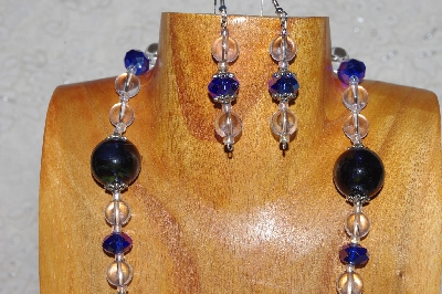 "MBADS #04-983  ""Blue & Clear Bead Necklace & Earring Set"""
