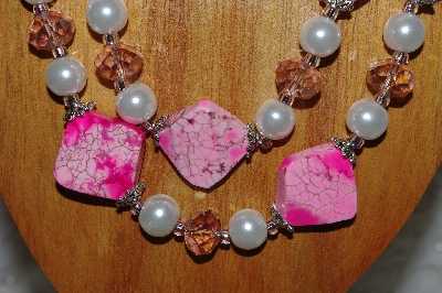 "MBADS #05-0029  "" Pink & White Bead Necklace & Earring Set"""