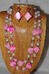 "+MBADS #05-0029  "" Pink & White Bead Necklace & Earring Set"""