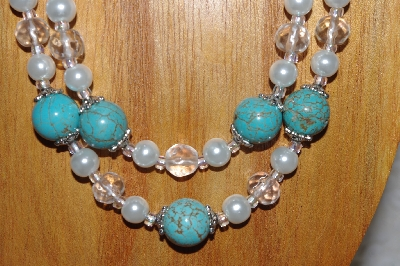 "MBADS #05-0093  ""Blue, Clear & White Bead Necklace & Earring Set"""