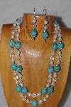 "+MBADS #05-0093  ""Blue, Clear & White Bead Necklace & Earring Set"""