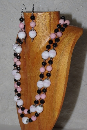 "MBADS #05-0055  ""Pink & Black Bead Necklace & Earring Set"""