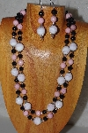 "+MBADS #05-0055  ""Pink & Black Bead Necklace & Earring Set"""