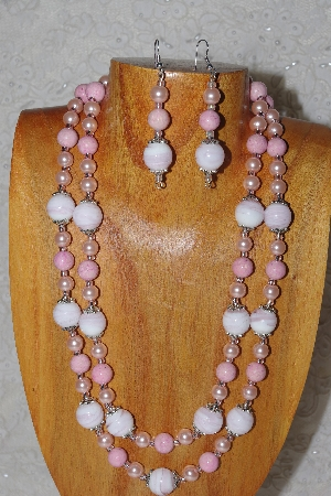 "MBADS #05-0049  ""Pink Glass Bead Necklace & Earring Set"""