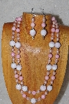 "+MBADS #05-0049  ""Pink Glass Bead Necklace & Earring Set"""