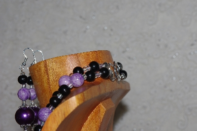 "MBADS #05-0061  ""Purple & Black Bead Necklace & Earring Set"""