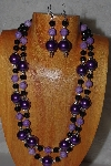 "+MBADS #05-0061  ""Purple & Black Bead Necklace & Earring Set"""