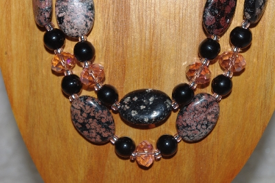 "MBADS #05-0038  ""Black & Pink Bead Necklace & Earring Set"""