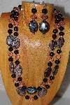 "+MBADS #05-0038  ""Black & Pink Bead Necklace & Earring Set"""