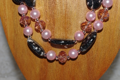 "MBADS #05-0043  ""Pink & Black Bead Necklace & Earring Set"""