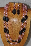 "+MBADS #05-0043  ""Pink & Black Bead Necklace & Earring Set"""