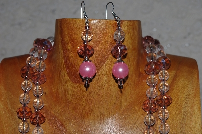 "MBADS #05-0099  ""Pink & Clear Bead Necklace & Earring Set"""