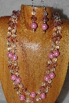 "+MBADS #05-0099  ""Pink & Clear Bead Necklace & Earring Set"""