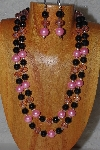 "+MBADS #05-0088  ""Pink & Black Bead Necklace & Earring Set"""