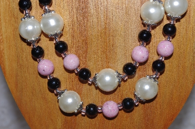 "MBADS #05-0081  ""Pink,Ivory & Black Bead Necklace & Earring Set"""