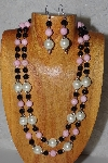 "+MBADS #05-0081  ""Pink,Ivory & Black Bead Necklace & Earring Set"""