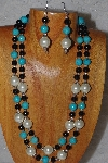 "+MBADS #05-0075  ""Ivory, Blue & Black Bead Necklace & Earring Set"""