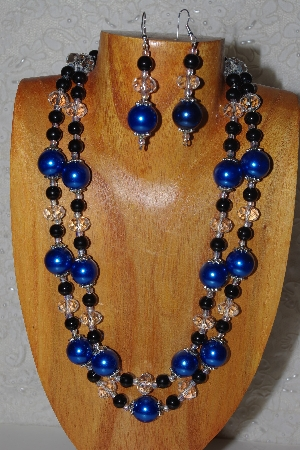 "MBADS #05-0069  ""Black, Blue & Clear Bead Necklace & Earring Set"""