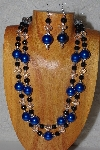 "+MBADS #05-0069  ""Black, Blue & Clear Bead Necklace & Earring Set"""