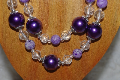 "MBADS #05-0111  ""Purple & Clear Bead Necklace & Earring Set"""
