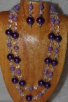 "+MBADS #05-0111  ""Purple & Clear Bead Necklace & Earring Set"""