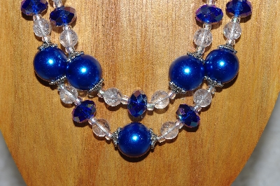 "MBADS #05-0106  ""Blue & Clear Bead Necklace & Earring Set"""