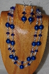 "+MBADS #05-0106  ""Blue & Clear Bead Necklace & Earring Set"""
