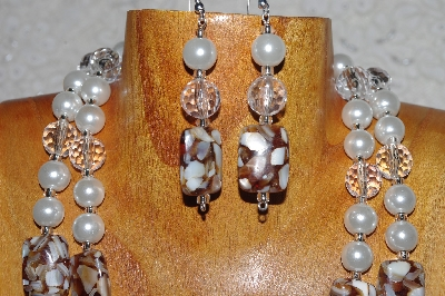 "MBADS #05-0018  ""White, Clear & Brown Bead Necklace & Earring Set"""