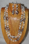 "+MBADS #05-0018  ""White, Clear & Brown Bead Necklace & Earring Set"""