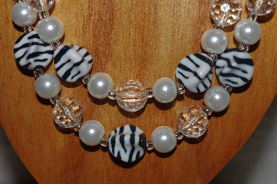 "MBADS #05-0023  ""White, Black & Clear Bead Necklace & Earring Set"""