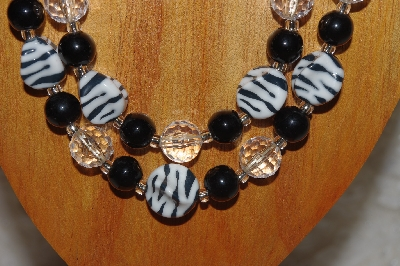 "MBADS #05-0013  ""Black, White & Clear Bead Necklace & Earring Set"""