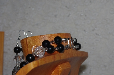 "MBADS #05-0007  ""Grey, Black & Clear Bead Necklace & Earring Set"""